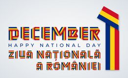 Free December 1, Romania Union Day Congratulatory Design With Romanian Flag Colors. Vector Illustration Stock Photography - 161959252