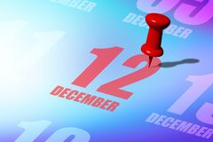 Free December 12th. Day 12 Of Month, Red Date Written And Pinned On A Calendar To Remind You An Important Event Or Possibility. Winter Stock Images - 198244314