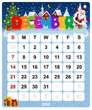 December 2008 - December. Calendar 2008, US Style, start on Sunday Stock Photography