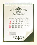 December 2009. 2009 calendar with a blanknote paper - vector illustration vector illustration