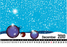 December 2010. Calendar  christmas background Stock Photos