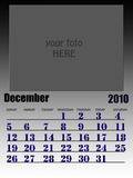 December 2010. Wall calendar with place for your kids image. Week starts on sunday Royalty Free Stock Photo