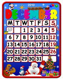 December 2010 calendar. Festive December 2010 Christmas calendar Stock Image