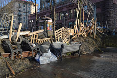 December 26, 2013 Kiev, Ukraine: Euromaidan, Maydan, Maidan detailes of barricades and tents on Khreshchatik street Stock Images