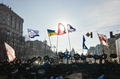 December 26, Kiev, Ukraine: Euromaidan, Maydan, Maidan detailes of barricades and tents on Khreshchatik street Royalty Free Stock Photos