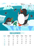 December. Vector calendar 2013. December. Animals design royalty free illustration