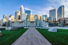 December 27, 2013, charlotte, nc - view of charlotte skyline at. Night near romare bearden park Royalty Free Stock Image