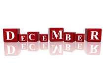 December in 3d cubes. 3d red cubes with letters makes december Royalty Free Stock Photo