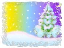 December. Green herringbone in snow on winter moon background Stock Photography