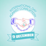 9 December Against Corruption. Calendar for each day on december 9. Greeting card. Holiday - International Day Against Corruption. Icon in the linear style stock illustration