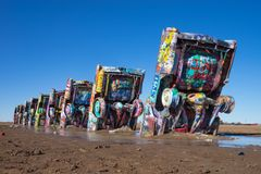Cadillac Ranch in Amarillo Texas. December 21, 2015 Amarillo, Texas, USA: Cadillac Ranch is a roadside public art installation of old car wrecks and a popular Stock Image