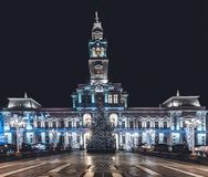 Arad City Hall at night during winter holidays, Romania. December 2015, Arad, Romania Royalty Free Stock Photography