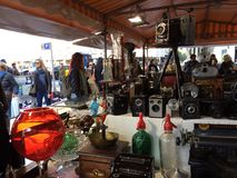2015 December, Barcelona- visitors examines flea market on placa Catalunia, Stock Photography