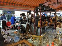 2015 December, Barcelona- visitors examines flea market on placa Catalunia, Stock Photos