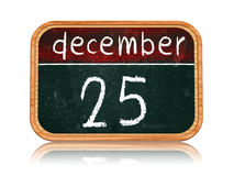 December 25 on blackboard banner Stock Photography