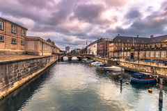 December 05, 2016: Boats at a canal in Copenhagen, Denmark Royalty Free Stock Photography