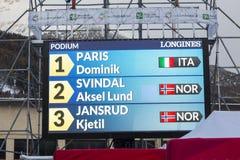28 December 2017 - Bormio Italy - Audi FIS Ski World Cup. Bormio Italy 12/28/2017: pictures of the freeride ski world championship. The winner was the Italian Royalty Free Stock Photos
