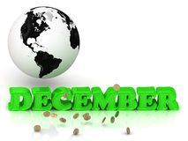 DECEMBER- bright color letters, black and white Earth Stock Image