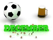 DECEMBER- bright green letters, ball, money and cup Royalty Free Stock Photos