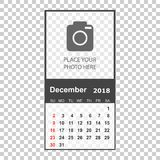 December 2018 calendar. Calendar planner design template with pl. Ace for photo. Week starts on sunday. Business vector illustration Royalty Free Stock Photo