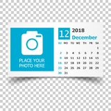 December 2018 calendar. Calendar planner design template with pl. Ace for photo. Week starts on sunday. Business vector illustration Royalty Free Stock Photography