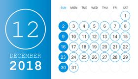 December 2018 calendar. Calendar planner design template. Week s. Tarts on Sunday. Business vector illustration Royalty Free Stock Photos