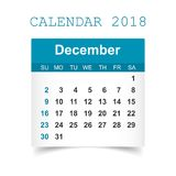 December 2018 calendar. Calendar sticker design template. Week s. Tarts on Sunday. Business vector illustration Stock Photos