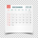 December 2018 calendar. Calendar sticker design template. Week s. Tarts on Sunday. Business vector illustration Royalty Free Stock Image