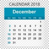 December 2018 calendar. Calendar sticker design template. Week s Stock Photos
