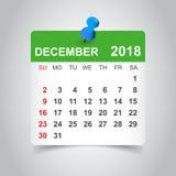 December 2018 calendar. Calendar sticker design template. Week s Stock Photography