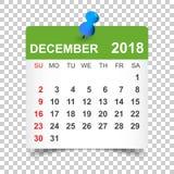 December 2018 calendar. Calendar sticker design template. Week s Stock Images
