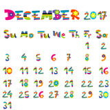 December 2017 calendar Stock Images