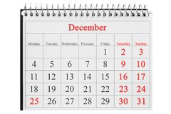December 25 in the calendar Royalty Free Stock Images