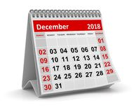 December 2018 - Calendar. December 2018 , This is a 3d rendered computer generated image. Isolated on white Stock Image