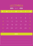 2017 December calendar design simple | colorful modern business Royalty Free Stock Image