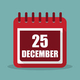 25 december. Calendar in a flat design. Vector illustration Royalty Free Stock Photo