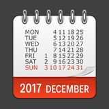 December 2017 Calendar Daily Icon. Vector Illustration Emblem.. December 2017 Calendar Daily Icon. Vector Illustration Emblem. Element of Design for Decoration Stock Photo