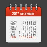 December 2017 Calendar Daily Icon. Vector Illustration Emblem.. December 2017 Calendar Daily Icon. Vector Illustration Emblem. Element of Design for Decoration Stock Photography
