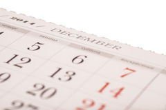 December on calendar isolated Royalty Free Stock Image