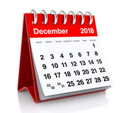December 2018 Calendar. Isolated on White Background. 3D Illustration Stock Photo