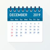 December 2019 Calendar Leaf. Calendar 2019 in flat style. A5 size. Vector illustration. December 2019 Calendar Leaf. Calendar 2019 in flat style. A5 size vector illustration