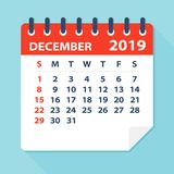 December 2019 Calendar Leaf - Vector Illustration. December 2019 Calendar Leaf - Illustration. Vector graphic page stock illustration
