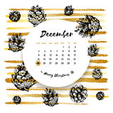 December 25 calendar, Merry Christmas Card, Hand drawn design elements. Handwritten modern brush lettering. Graphic spruce cones, gold painted line art brush royalty free illustration
