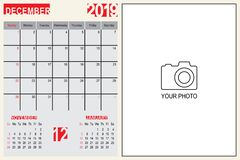 December 2019 Calendar Monthly Planner Design with Place of Photo royalty free stock photography