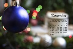 December 2018 calendar with new year eve decoration royalty free stock photography