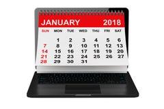 December 2018 calendar over laptop screen. 3d rendering Royalty Free Stock Photography
