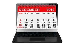 December 2018 calendar over laptop screen. 3d rendering. 2018 year calendar. December calendar over laptop screen on a white background. 3d rendering stock illustration