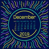 2019. December Calendar page in memphis style poster for concept typography design, flat color. Week starts on Sunday Royalty Free Stock Photos