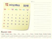 December 2018 Calendar Paper Note Design stock illustration