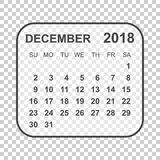 December 2018 calendar. Calendar planner design template. Week s. Tarts on Sunday. Business vector illustration Royalty Free Stock Photo